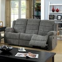 Chenille Fabric Transitional Motion Sofa, Gray