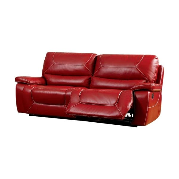 Leatherette Upholstered Contemporary Recliner Sofa With Contrast Stitching,  Red