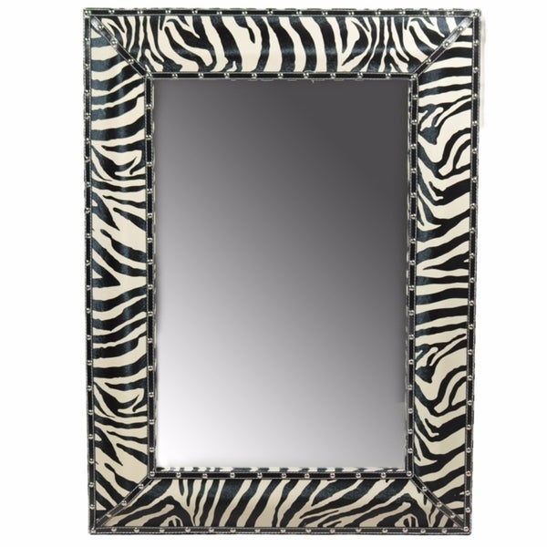 Well Designed Striped Wooden Mirror, Black And White - A/N