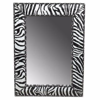 Enchantingly Striped Wooden Mirror, Black And White - A/N