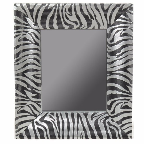 Alluring Striped Wooden Mirror, Black And Silver - A/N