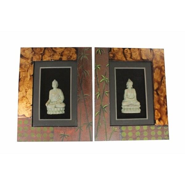 Wooden Buddha Wall Decor Multicolor Assortment Of 2