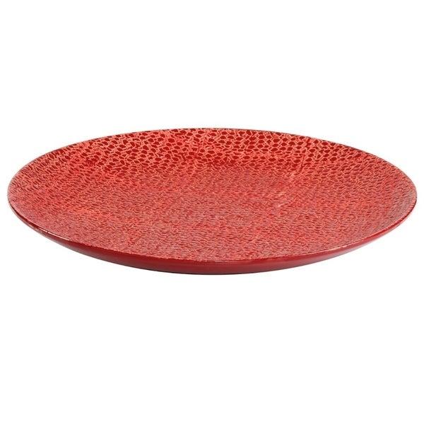 Classy Stoneware Decorative Plate ,Red
