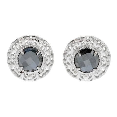 Pinctore Sterling Silver 10mm Hematite Openwork Stud Earrings