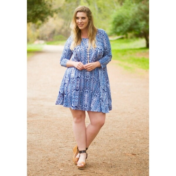 Shop Womens Plus Size Printed 34 Sleeve Swing Dress Made In Usa