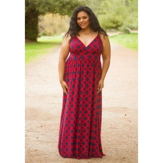 Women's Plus Size Printed Sleeveless V Neck Maxi Dress - Made in USA