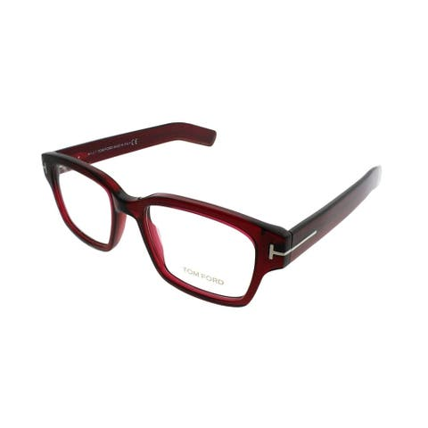 Tom Ford Rectangle FT 5527 066 Unisex Shiyn Red Frame Demo Eyeglasses