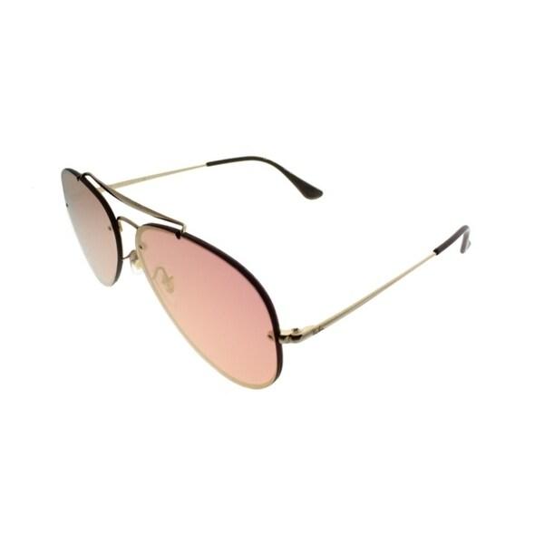 9033533cde713d Ray-Ban Aviator RB 3584N Blaze Aviator 9052E4 Unisex Gold Frame Pink Mirror  Lens Sunglasses