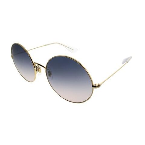 Ray-Ban Round RB 3592 Ja-Jo 001/I9 Unisex Gold Frame Light Blue Gradient Lens Sunglasses