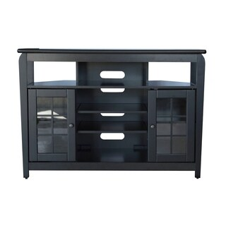 "Offex 46""W Corner TV Stand with 2 Cabinet and Glass Door - Black"