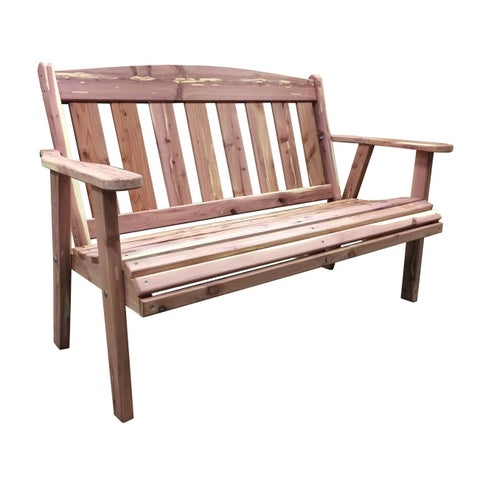 AmeriHome Amish Made Outdoor Bench - Cedar Brown Unfinished