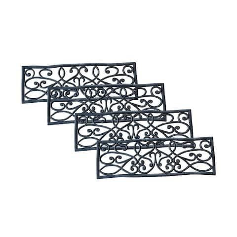 """Offex Non Slip Heavy Duty Rubber Scrollwork Stair Tread - 4 Pack - 2'6"""" x 9"""""""