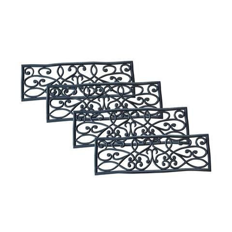 """AmeriHome Rubber Scrollwork Stair Tread - 4 Pack - 2'6"""" x 9"""""""