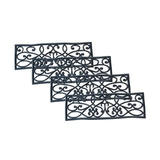 AmeriHome Rubber Scrollwork Stair Tread - 4 Pack