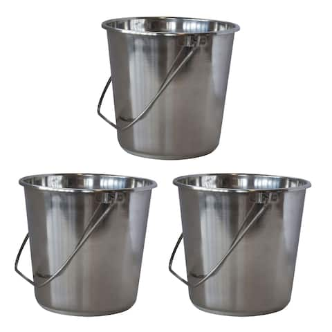 Offex 3 Piece XLarge Stainless Steel Bucket Set with Handle