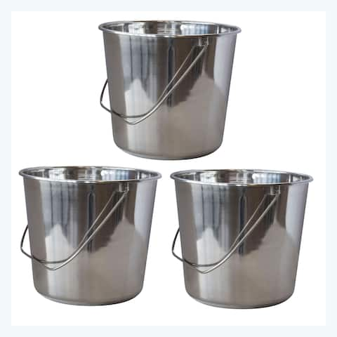 Offex 3 Piece Large Stainless Steel Bucket Set with Handle