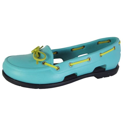 Crocs Womens Beach Line Slip On Boat Shoes, Pool/Navy
