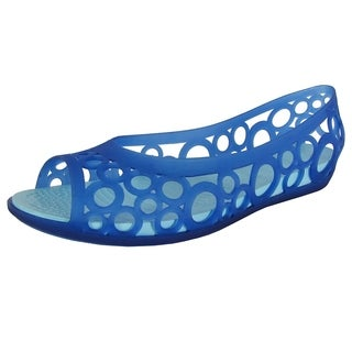 Crocs Womens Adrina Open Toe Slip On Flat Shoes, Cerulean Blue/Ice Blue
