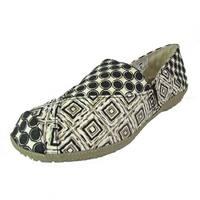 Crocs Womens Angeline Graphic Loafer Slip On Shoes, Black/Khaki