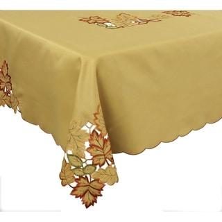 Bountiful Leaf Embroidered Cutwork Fall Tablecloth, 60 by 84-Inch