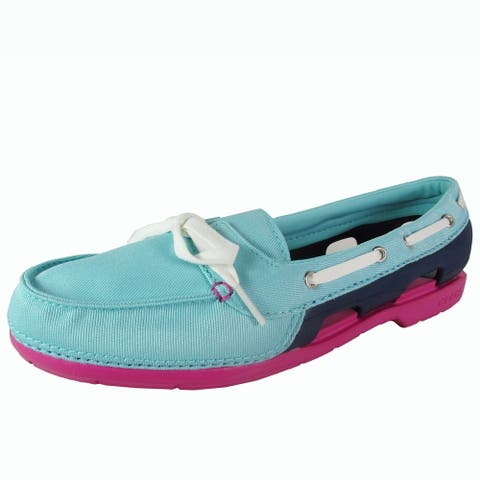 Crocs Womens Beach Line Hybrid Lace Up Boat Shoes, Pool/Nautical Navy