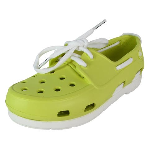 Crocs Kids Beach Line Lace Up Boat Shoes, Chartreuse/White