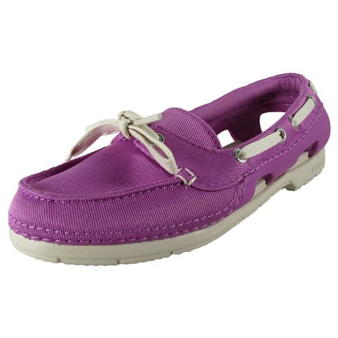 Crocs Womens Beach Line Hybrid Lace Up Boat Shoes, Wild Orchid/Stucco
