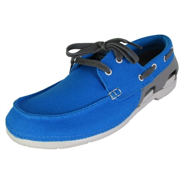Crocs Mens Beach Line Lace Up Boat Shoes Ocean Smoke