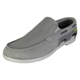 Crocs Mens Beach Line Slip On Boat Shoes, Smoke/Pearl White