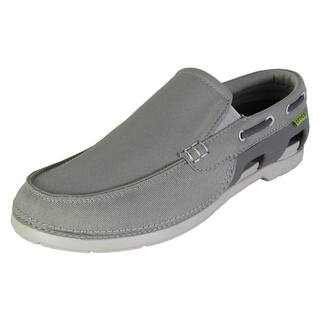 Crocs Mens Beach Line Slip On Boat Shoes, Smoke/Pearl White