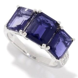 Pinctore Sterling Silver Emerald Iolite & White Topaz Ring