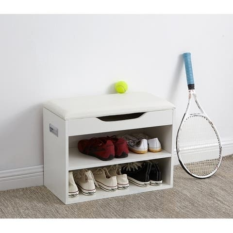 Yak About It Compact Shoe Rack Bench with Top Cushion - White