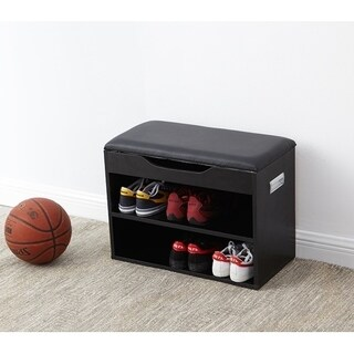 Yak About It Compact Shoe Rack Bench with Top Cushion - Black