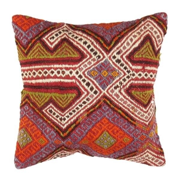 "Pasargad Vintage Turkish Kilim Pillow (16"" X 16"")"