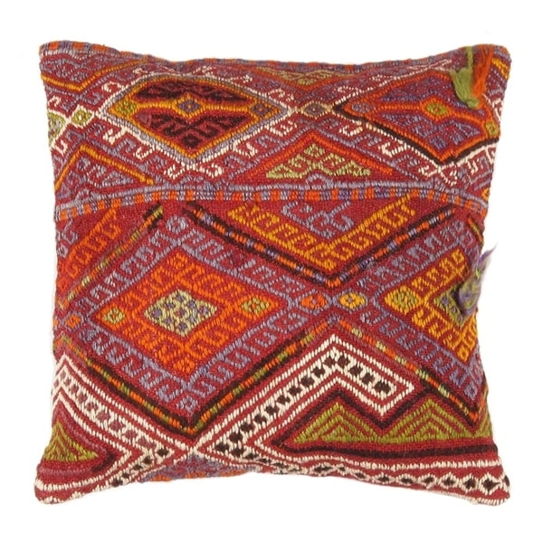"Pasargad Vintage Turkish Kilim Pillow (16"" X 16"")"