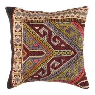 "Pasargad Vintage Turkish Kilim Throw Pillow (16"" X 16"")"