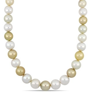 Miadora Gold and White South Sea Cultured Pearl Necklace with 14k Yellow Gold Diamond Ball Clasp (12.5-16mm)