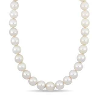Miadora South Sea Cultured Pearl Necklace with 14k Yellow Gold Diamond Ball Clasp (13-15mm)