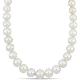 Miadora South Sea Cultured Pearl Necklace with 14k Yellow Gold Diamond Ball Clasp (13-16mm)