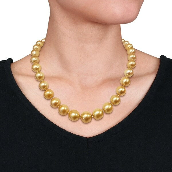 14k Yellow Gold 4-5mm Black Cultured Round Pearl Necklace 20inch
