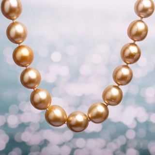 Miadora Champagne South Sea Cultured Pearl Necklace with 14k Yellow Gold Diamond Ball Clasp (10-12.5 mm)