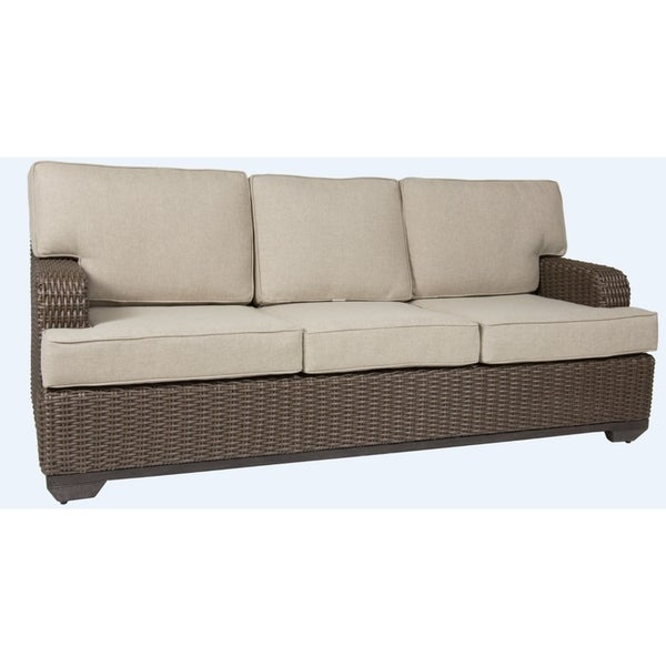 GatherCraft Brookstone Brown Resin Wicker Sofa With Cushions
