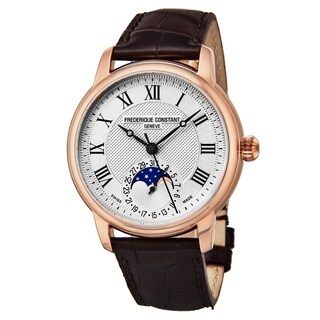Frederique Constant Men's FC-715MC4H4 'Classics' Silver Dial Brown Leather Strap Swiss Automatic Watch