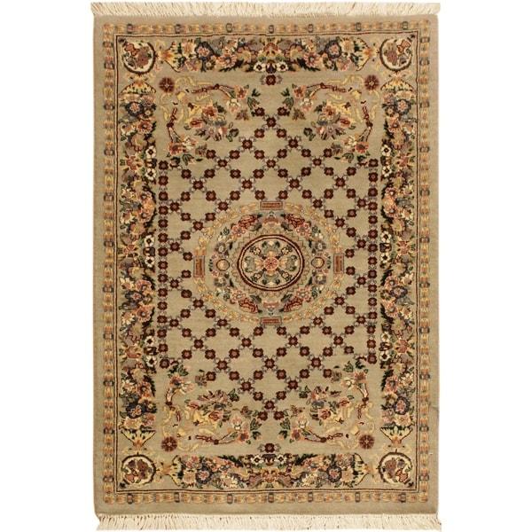 Golden Pak-Persian Morris Gray/Pink Wool Rug (2'6 x 4'4) - 2 ft. 6 in. x 4 ft. 4 in.
