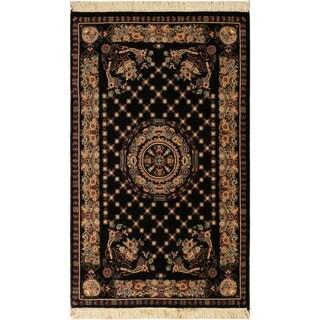 Golden Pak-Persian Blanch Black/Brown Wool Rug (2'7 x 4'2) - 2 ft. 7 in. x 4 ft. 2 in.