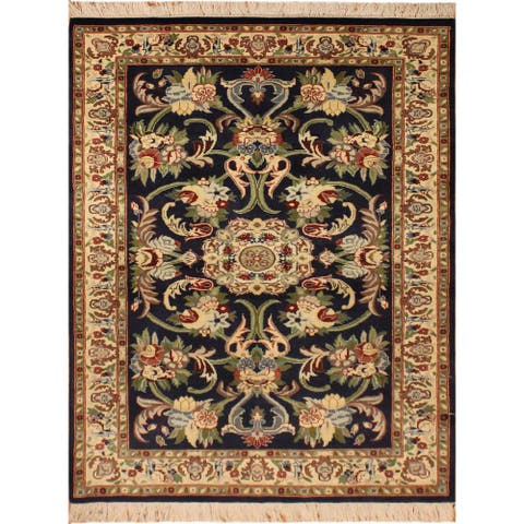 "Anarkali Pak-Persian Jacque Drk. Blue/Ivory Wool Rug (3'2 x 5'3) - 3' 2"" x 5' 3"""
