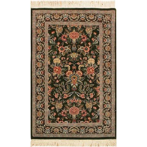 Gasvin Pak-Persian Nicola Green/Gray Wool Rug (2'6 x 4'3) - 2 ft. 6 in. x 4 ft. 3 in. - 2 ft. 6 in. x 4 ft. 3 in.
