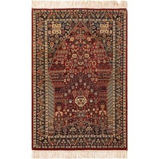 "Kashan Pak-Persian Albert Red/Blue Wool Rug (3'0 x 5'0) - 3' 0"" x 5' 0"""