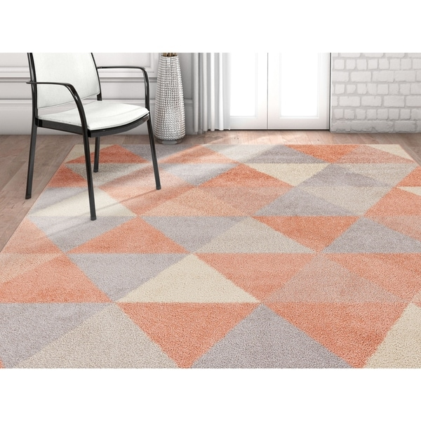"Well Woven Mid-Century Modern Geometric Triangles Blush Area Rug - 3'3"" x 5'"
