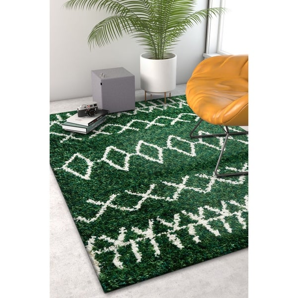 "Well Woven Modern Moroccan Soft Shag Green Area Rug - 3'11"" x 5'3"""